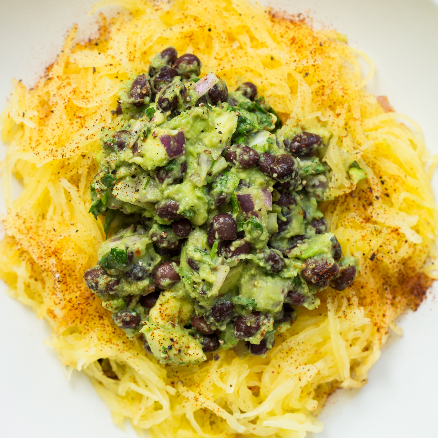 Tex Mex Spaghetti Squash with Black Bean Guacamole — Oh She Glows