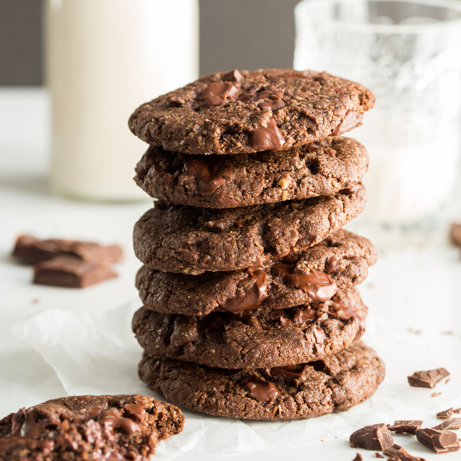 One Bowl Double Chocolate Chunk Cookies Oh She Glows