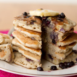 Vegan and Gluten-Free Vanilla Blueberry Buckwheat Pancakes