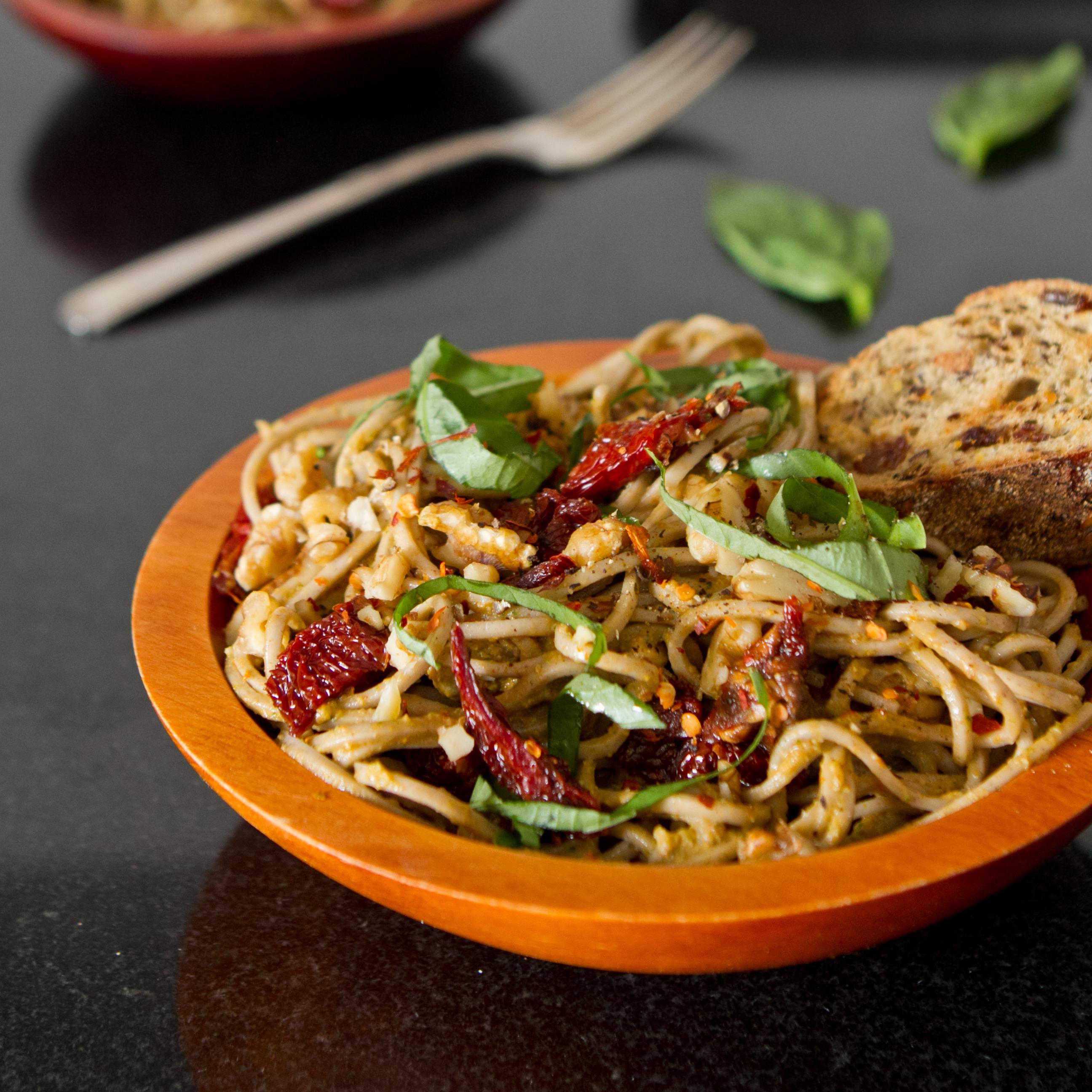 Lightened-Up Sundried Tomato Basil Pesto Pasta — Oh She Glows