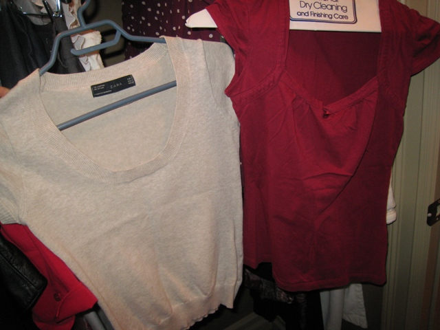 Shown here a beige tee from Zara and a maroon tee from RW&co