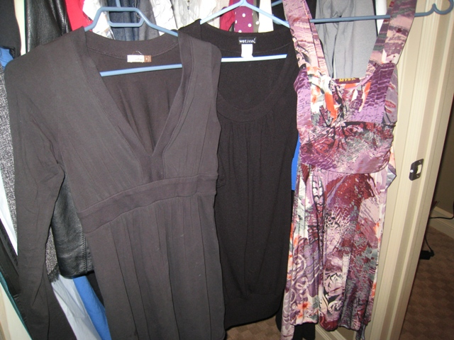 (l to r) Wilfred long sleeved empire black dress, Wet Seal 3/ length sleeved runic dress, Miss Sixty floral empire