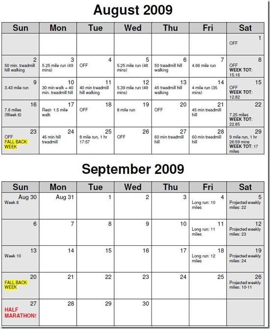 Marathon calendar