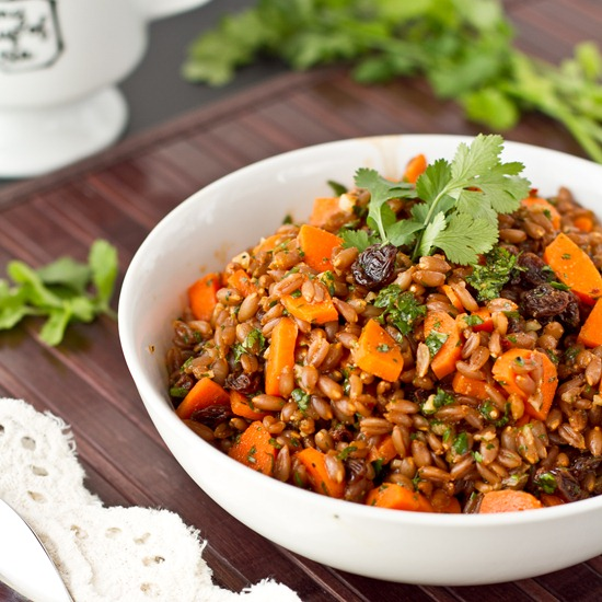 Carrot Raisin Spelt Berry Salad with Cumin and Cilantro — Oh She ...