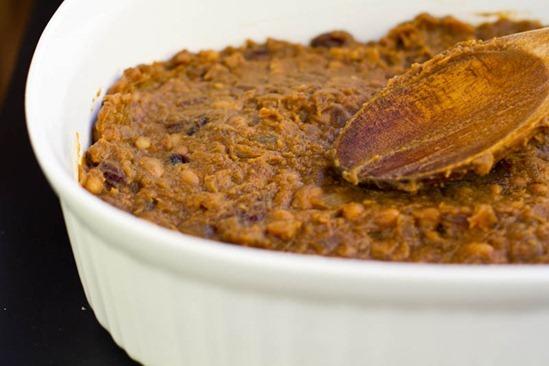 IMG 2661 thumb   Pumpkin Maple Baked Bean Cornbread Casserole