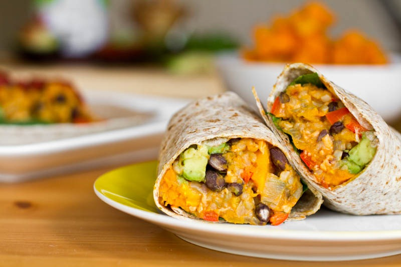 black bean and butternut squash burrito