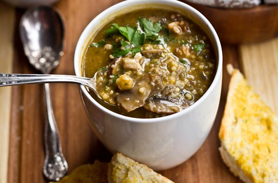 Mushroom Millet Soup with Cheezy Garlic Bread — Oh She Glows