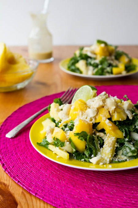 IMG 7710   Tropical Mango, Banana, & Pineapple Kale Salad with Creamy Pineapple Lime Coconut Dressing