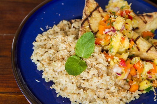Grilled Tofu with Pineapple Salsa and Coconut Rice — Oh She Glows
