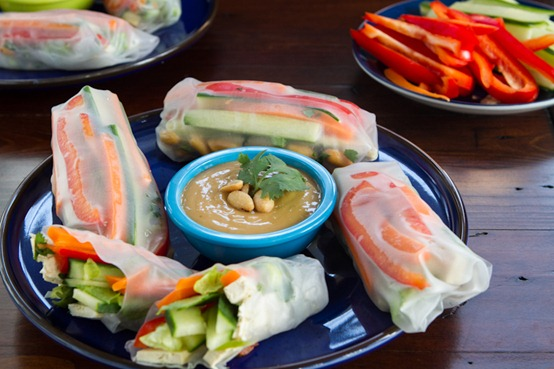 IMG 2554   Veggie Summer Rolls with Spicy Peanut Lime Sauce: Two Ways
