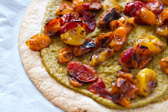 Tortilla Pizza with Basil Cashew Cheese 3638   Easy Roasted Tomato Pizza with Basil Cashew Cheeze & 2012 VegNews Awards