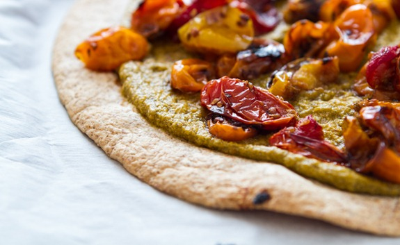 Tortilla Pizza with Basil Cashew Cheese 3639   Easy Roasted Tomato Pizza with Basil Cashew Cheeze & 2012 VegNews Awards