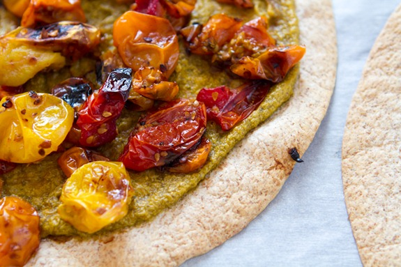 Tortilla Pizza with Basil Cashew Cheese 3641   Easy Roasted Tomato Pizza with Basil Cashew Cheeze & 2012 VegNews Awards