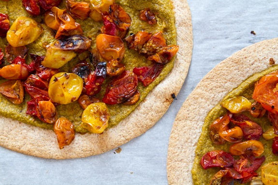 Tortilla Pizza with Basil Cashew Cheese 3643   Easy Roasted Tomato Pizza with Basil Cashew Cheeze & 2012 VegNews Awards