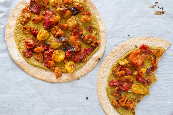 Tortilla Pizza with Basil Cashew Cheese 3644   Easy Roasted Tomato Pizza with Basil Cashew Cheeze & 2012 VegNews Awards