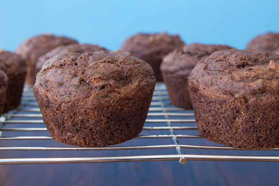 oil free vegan choclate zucchini muffins 3037   Oil Free Chocolate Zucchini Walnut Muffins