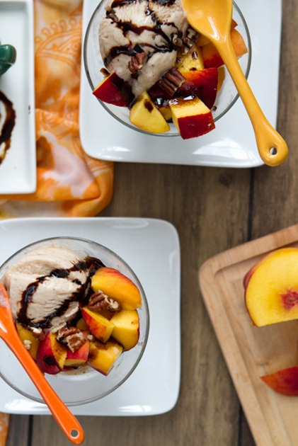 peaches and cream with balsamic reduction 3557   How To Make A Balsamic Reduction + Peaches & Cream Dessert