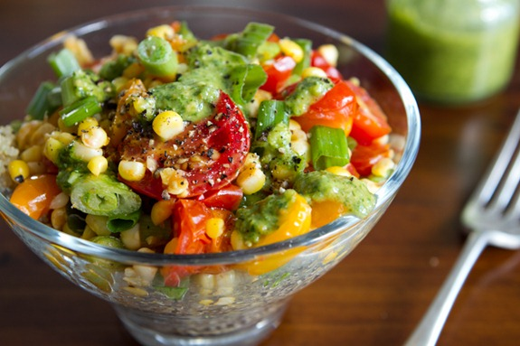 Warm Quinoa Salad With 3-Herb Green Sauce Recipe — Dishmaps