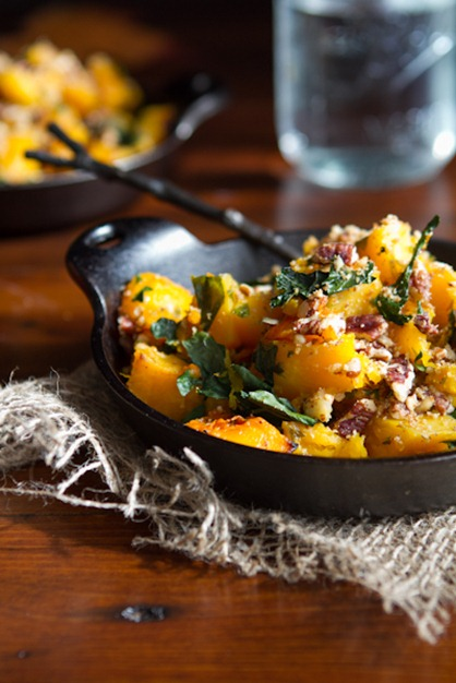 Roasted Butternut Squash with Kale and Almond Pecan Parmesan — Oh ...