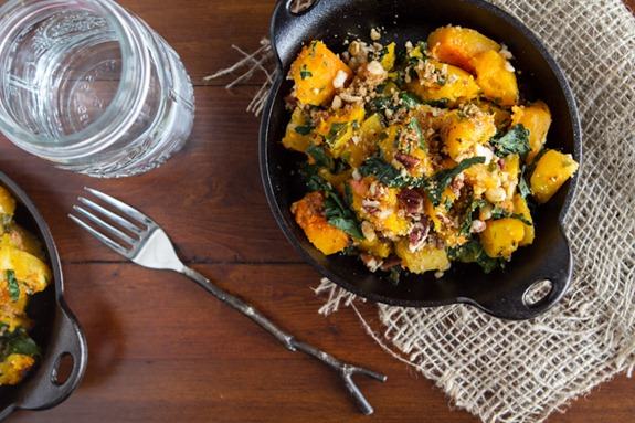 roasted butternut squash with almond parmesan 6512   Roasted Butternut Squash with Kale and Almond Pecan Parmesan