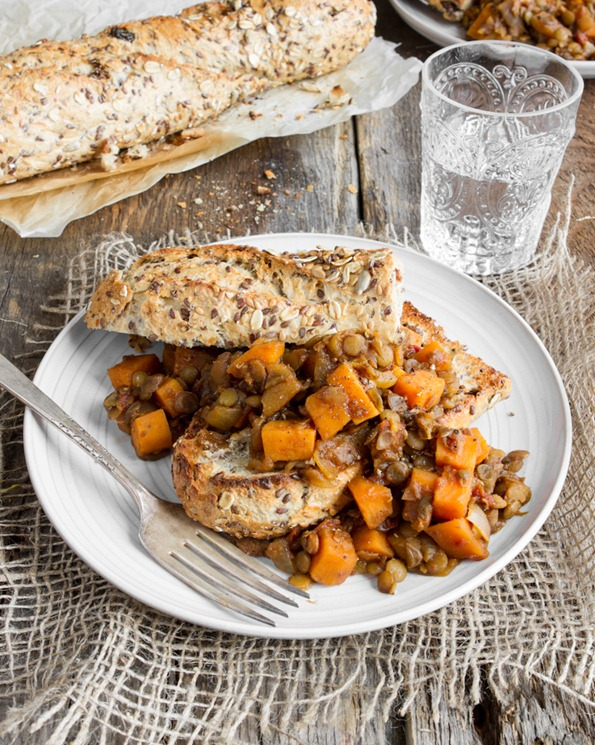 maple baked lentils 9961 thumb   Maple Baked Lentils with Sweet Potato – Healthy Comfort Food