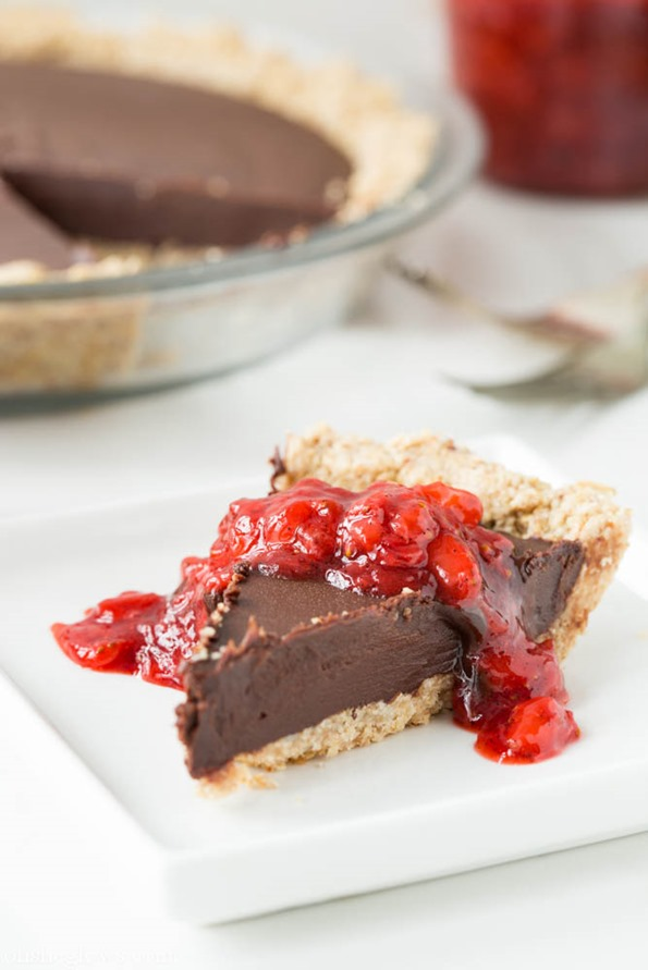 veganrecipes 6857   Chilled Dark Chocolate Pie with Toasted Almond Crust and Strawberry Vanilla Compote