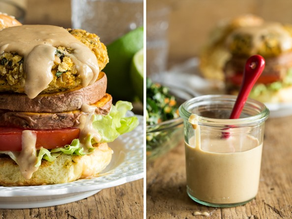 thaiveggieburger   Thai Sweet Potato Veggie Burgers with Spicy Peanut Sauce