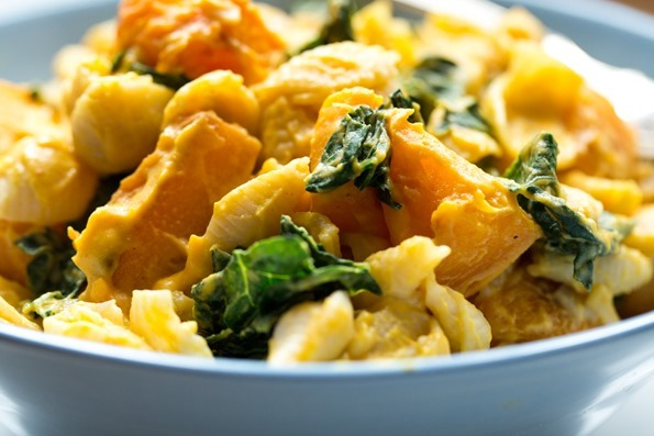 veganmacandcheese 1910   Smoky Butternut Squash Sauce with Pasta and Greens