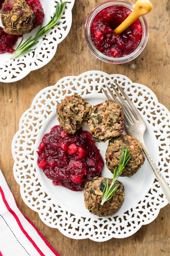 lentilwalnutmeatballscranberrysaucevegan 30172   3 Course Vegan and Gluten Free Holiday Menu – Step by step!