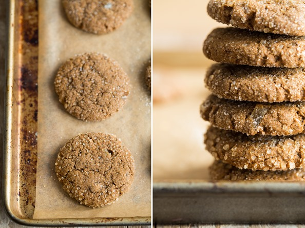 vegangingercookiesmolasses   Chewy Molasses Spelt Cookies with Candied Ginger
