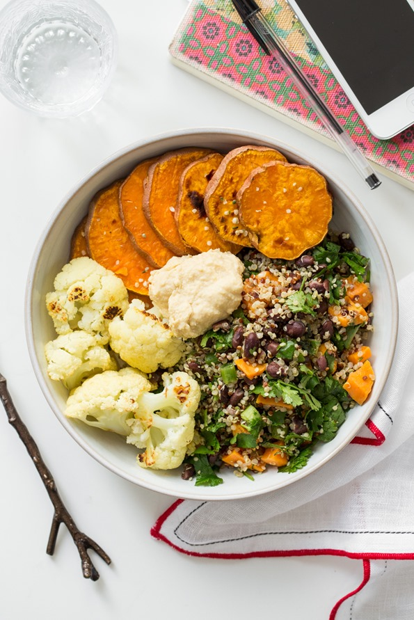 Black bean and quinoa salad with sweet potatoes and cauliflower -- perfect for lunch or dinner