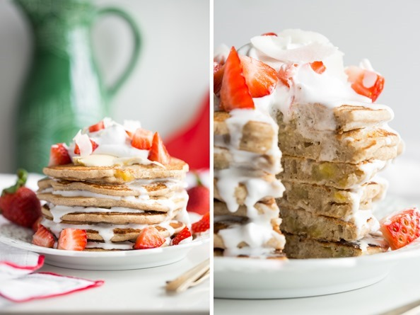 pancakes   Easy Vegan and Gluten Free Pancakes (Strawberry Shortcake w/ Whipped Cream)