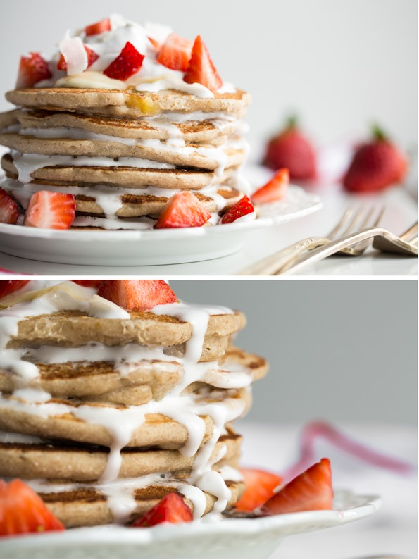 veganpancakesglutenfree   Easy Vegan and Gluten Free Pancakes (Strawberry Shortcake w/ Whipped Cream)
