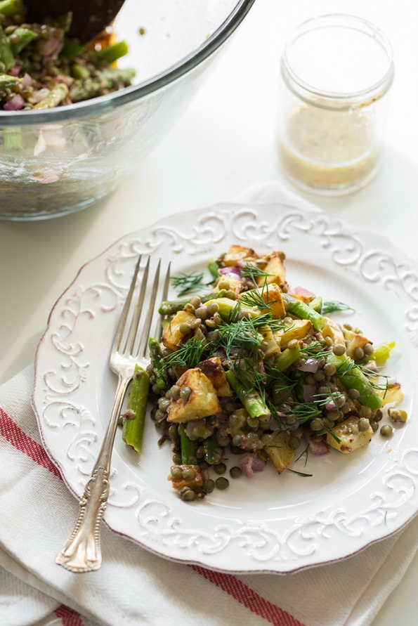 springsaladlentils 7554   Roasted Potato and Asparagus Lentil Salad with Tangy Mustard Lemon Dressing