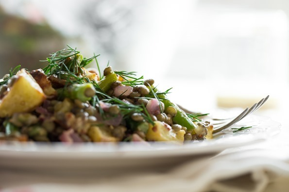 springsaladlentils 7570   Roasted Potato and Asparagus Lentil Salad with Tangy Mustard Lemon Dressing