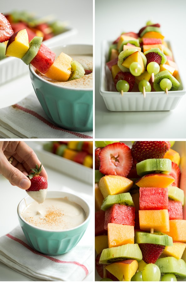 fruitskewersveganfruitdip   Creamy Cherry Pie Fruit Dip with Rainbow Fruit Kabobs