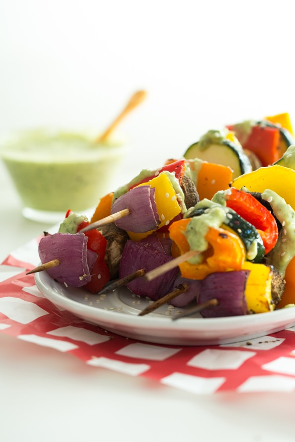Vegan Green Goddess Dressing with Grilled Veggie Kabobs — Oh She ...