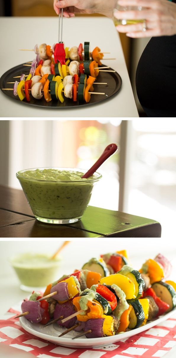 Vegan Green Goddess Dressing with Grilled Veggie Kabobs ...
