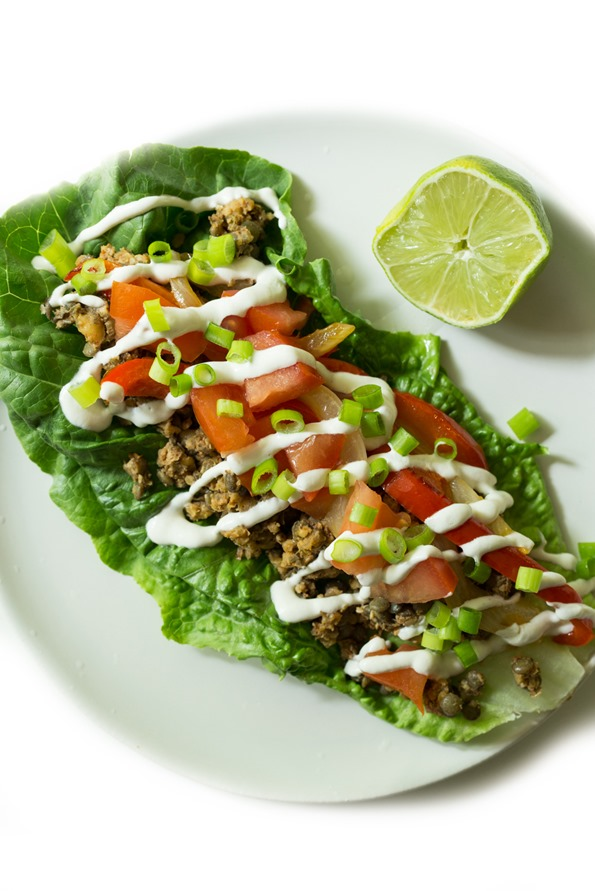 vegantacos 8785   Ultimate Green Taco Wraps with Lentil Walnut Taco Meat (Vegan + Gluten Free)