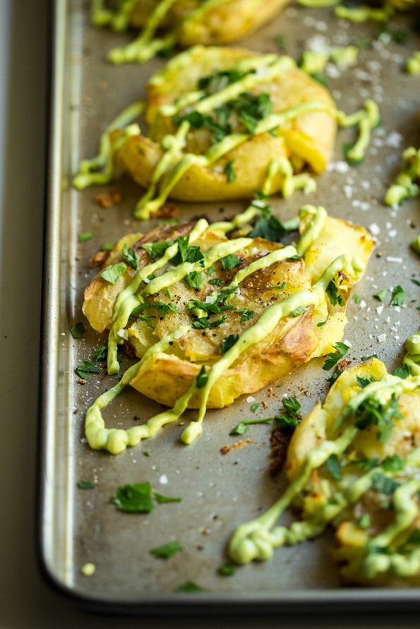 Crispy Smashed Potatoes with Avocado Garlic Aioli — Oh She Glows